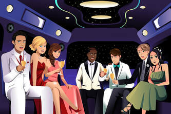 Cartoon image of people inside a limo on the way to prom.