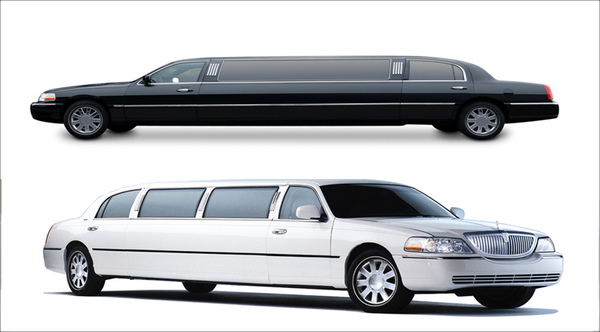 A picture of 2 limos.